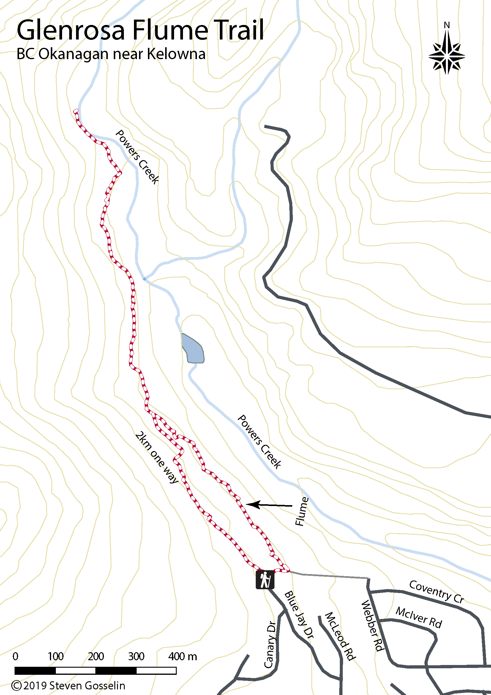 Map of Glenrosa Flume trail