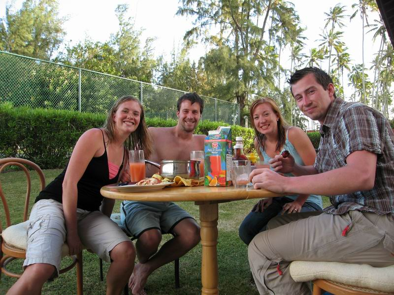Amie, Steve, Becky and Ryan just before a self-catered, Hawaiian feast.
