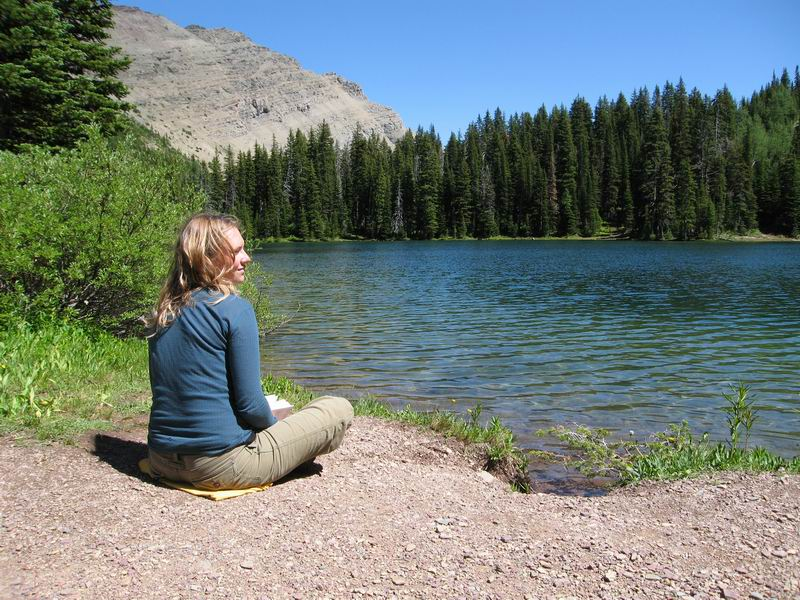 Amie relaxing at Goat Lake in Waterton Lakes National Park