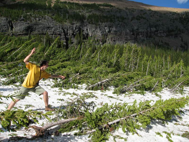 Hiking across an avalanche towards Newton Peak