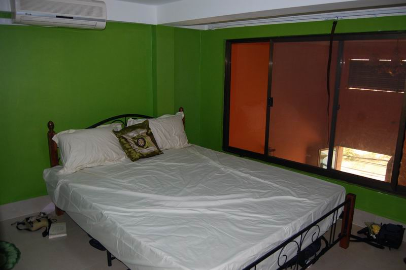 Bedroom - note the bright green.  It took some creativity to work with it!