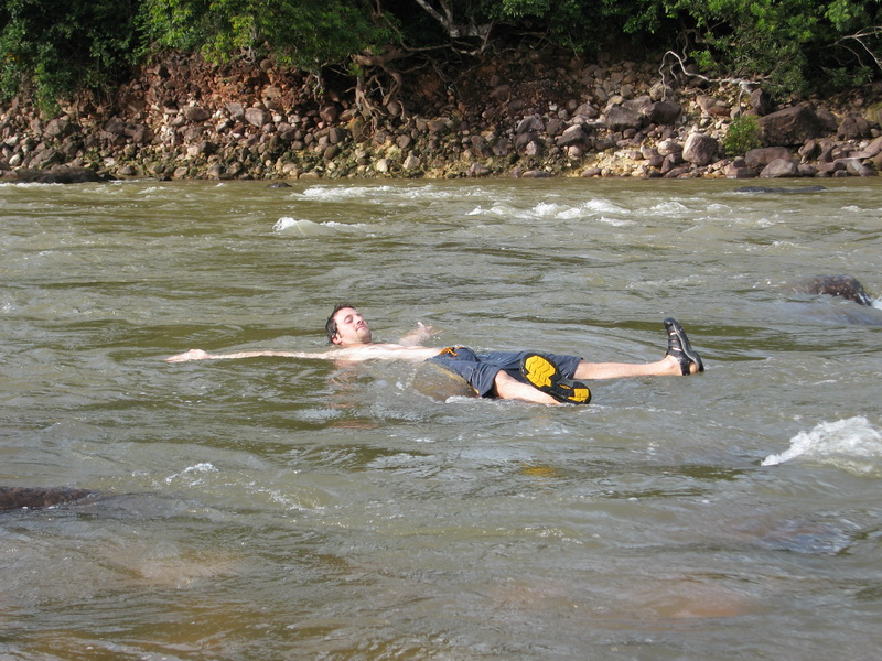 Steve relaxing in the Tek Chou rapids north of Kampot