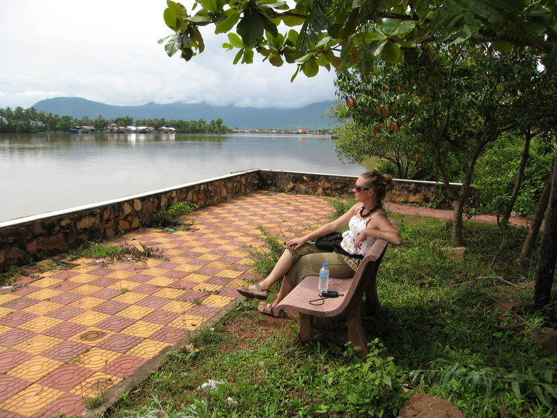 Amie relaxing by the riverside in Kampot