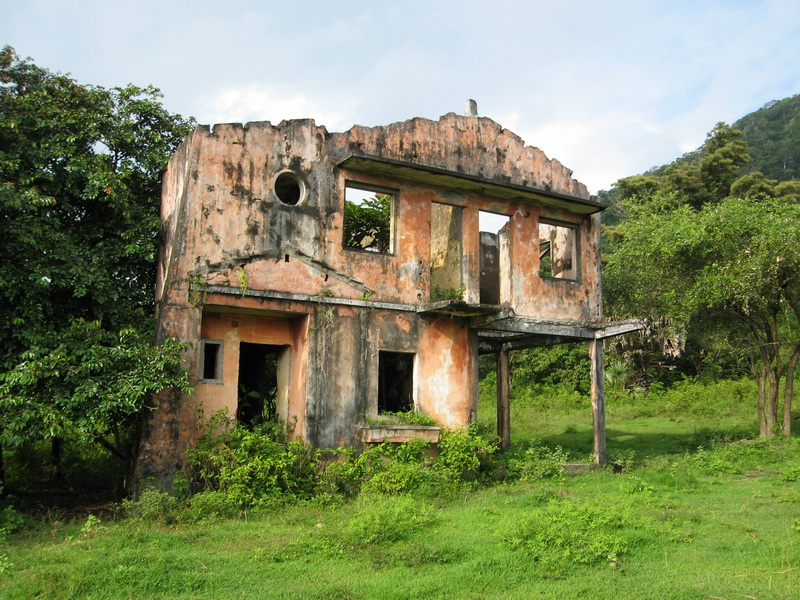 Typical burnt out shell of a villa destroyed by the Khmer Rouge around Kep