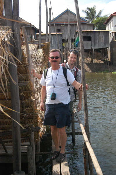 Dad and Steve walking the planks out to our Christmas Day picnic site.