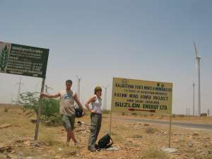 Visiting wind facility near Jaisalmer, Rajasthan
