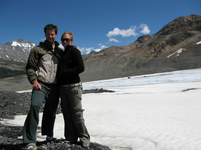 Steve and Amie hiking on Athabasca Glacier