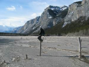 Amie on one of the Ghost Lakes in Banff National Park. Where's the water?