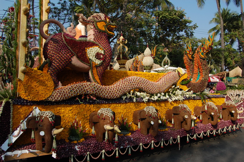 Chiang Mai Flower Festival.  All the details are made of flowers or seeds.