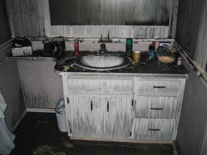 Burnt bathroom sink