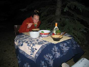 Amie eating in the woods??