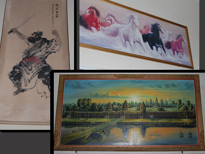 Our new artwork – on the house.  We are not sure what a Samurai and wild horses have to do with Cambodia.  And of course there is an enormous painting of Angkor Wat.  This picture simply does not do its size justice.