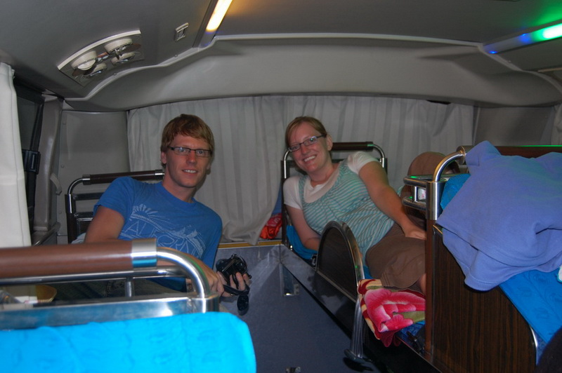 Comfy for the overnight bus to Ho Chi Minh