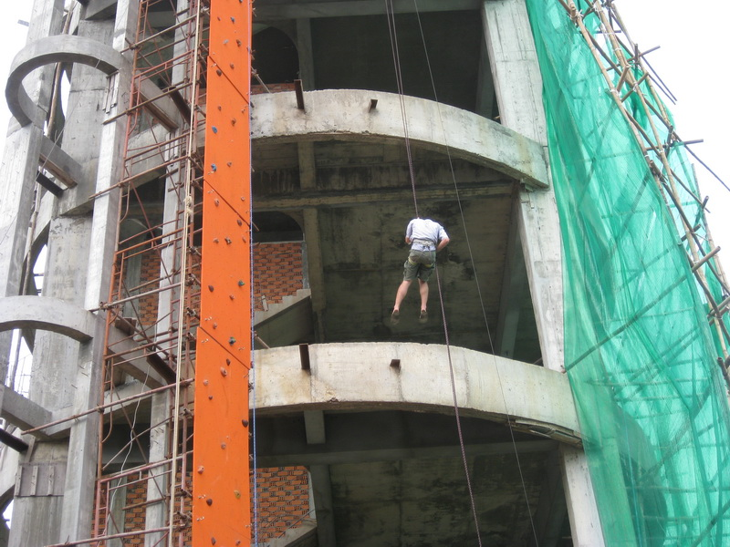 Steve rappelling off the building like in the movies