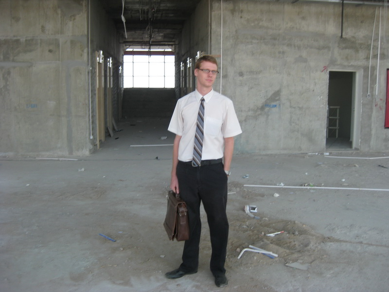 Dan in the undeveloped top floor of Canadia Tower