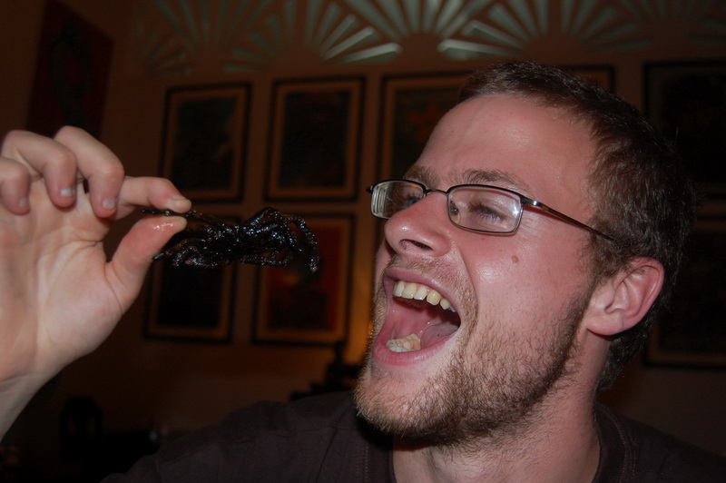 Fried Tarantula - the perfect way to celebrate Chris, Christie and Rob's arrival in Phnom Penh
