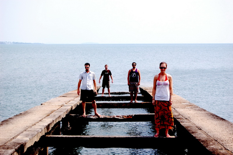 When we run out of things to do, there's always another band photo to take.  This time on a crumbling pier, possibly built by the Khmer Rouge.