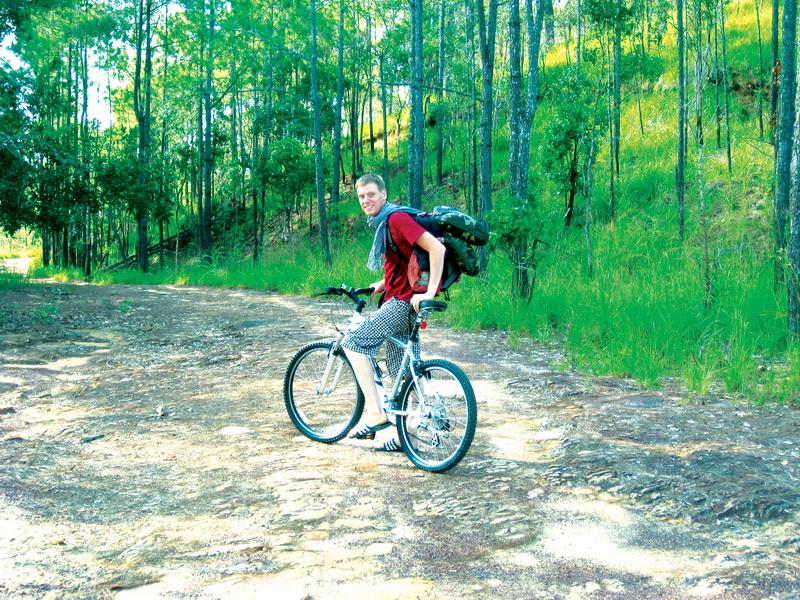 Dan biking along the trails