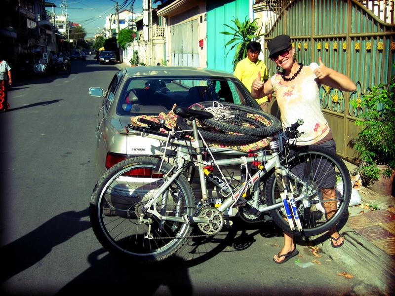 Amie final inspection at bike rack