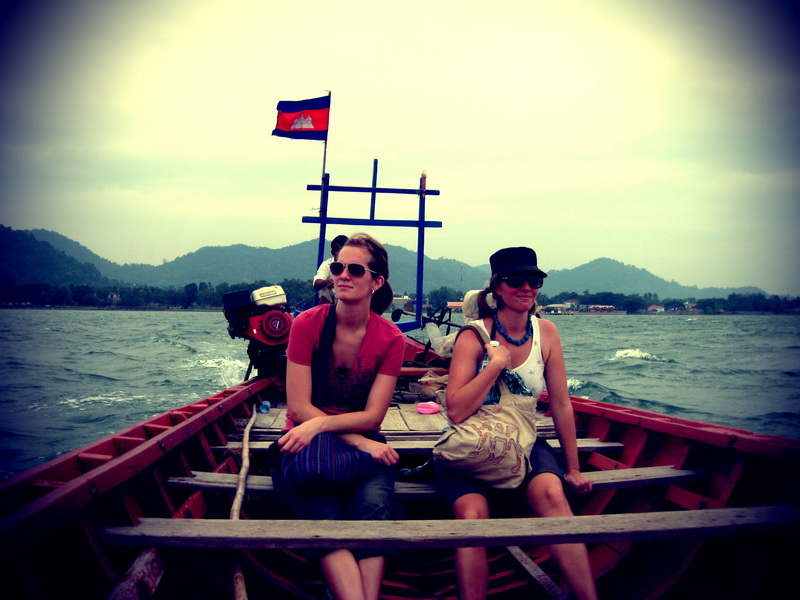 These are our 'not sure we'll make it through the choppy water' faces on the way back from Rabbit Island near Kep.