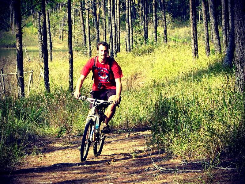 Steve sampling Kirirom's Bike Trails