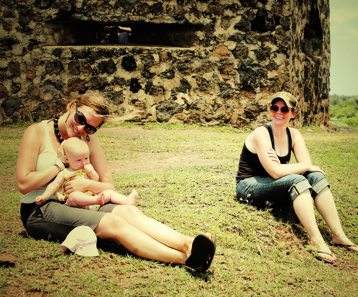 Amie, Aya + Jodi hanging out at the bunker near Kg. Cham airstrip
