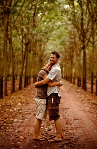 Amie + Steve in the rubber plantation