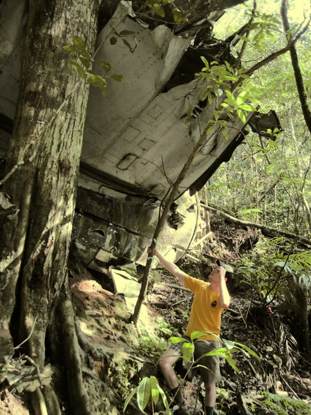 Dan with the wreck above held up by a large tree