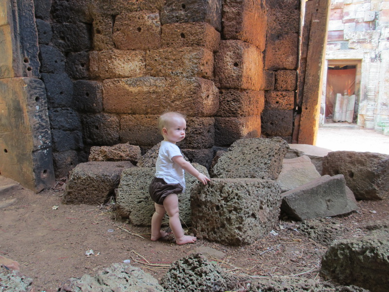 Aya exploring the ruins at Wat Banan near Battambang