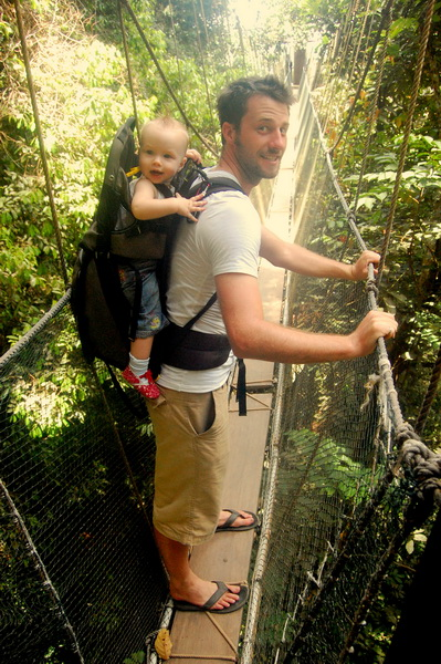 Steve + Aya on the canopy walk in Kinabalu Mountain Park