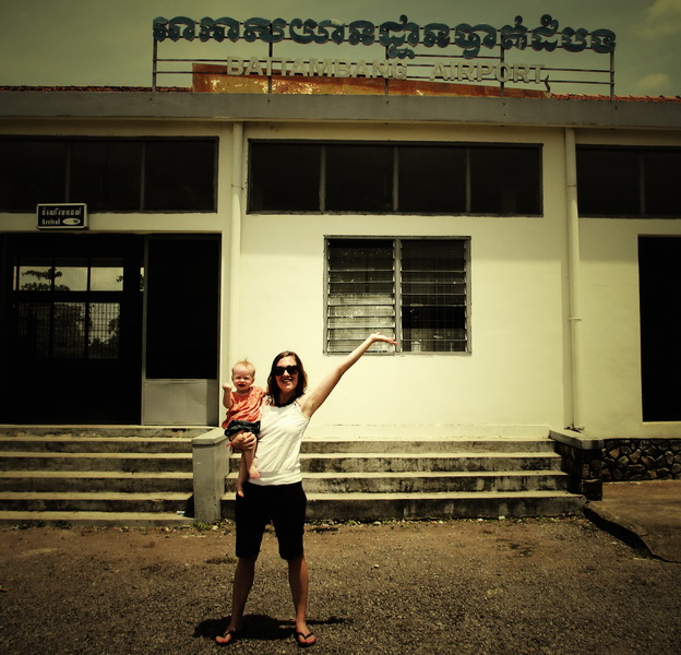 Amie + Aya at the Battambang Airport