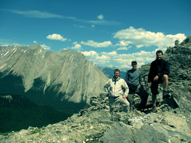 Tim, Rob + Steve hiking near Drummond Lake