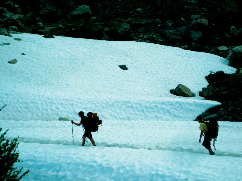 Trekking through the snow above Ptarmigan lake