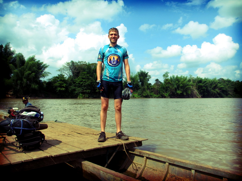 Tim crossing the Srepok river
