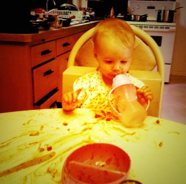 Messy spaghetti dinner