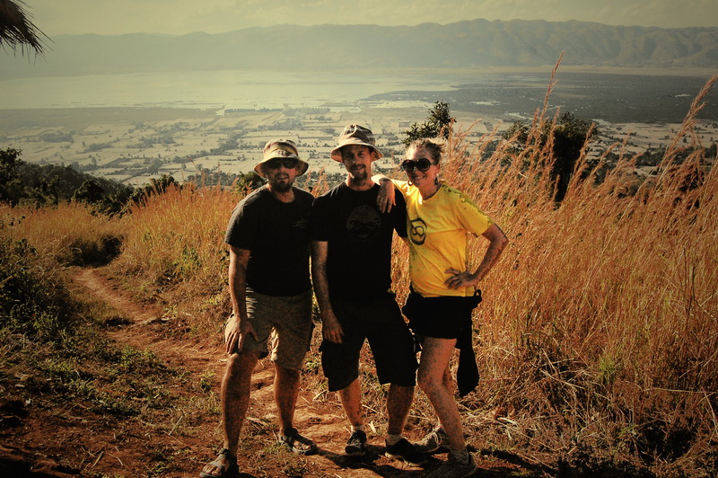 Chris, Steve + Amie hiking above Inle Lake