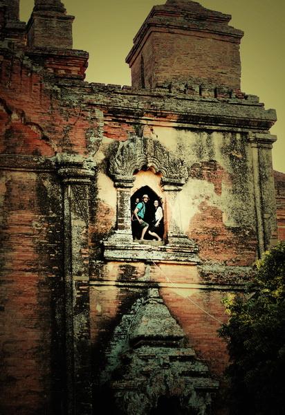 Steve, Christie + Aya climbing Dhammayangyi Paya