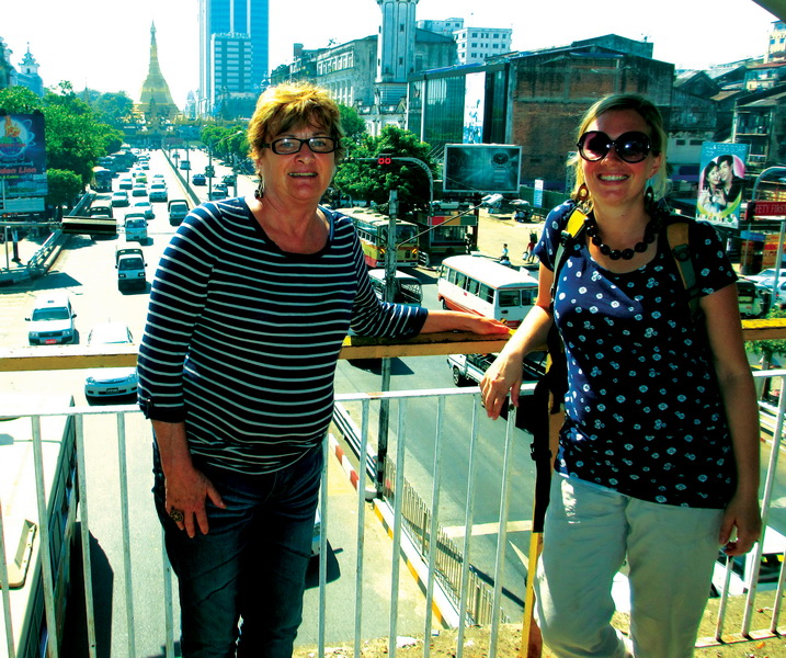 Sheila and Amie in Yangon