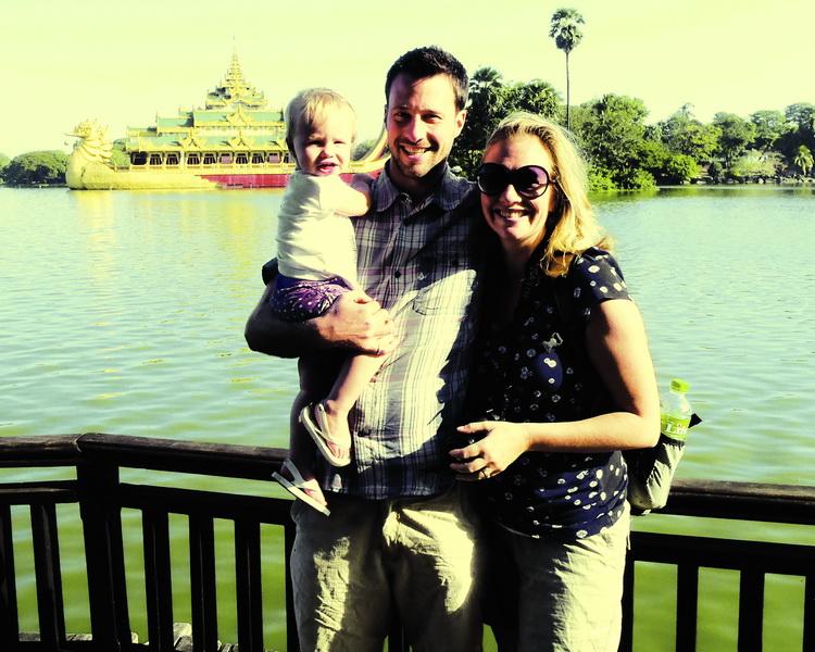 Aya, Steve + Amie walking around Kandawgyi Lake