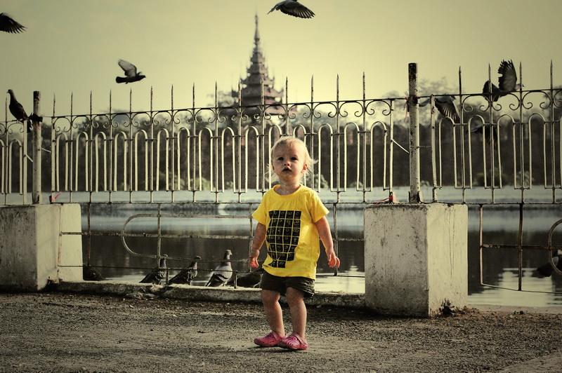 Chasing pigeons in Mandalay