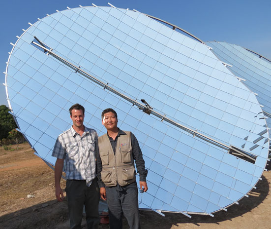 Solar Work Steve working with a project to install a Scheffleur Reflector pilot project in Takeo province.