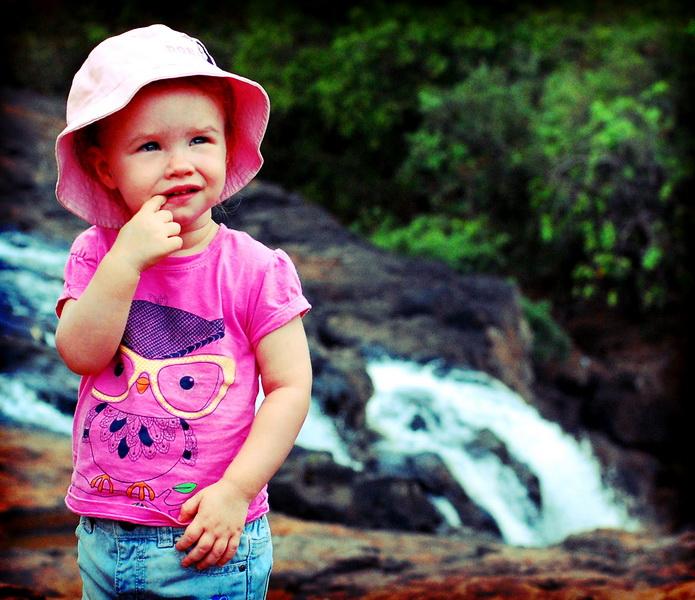 Aya at Bu Sra waterfall in Mondulkiri