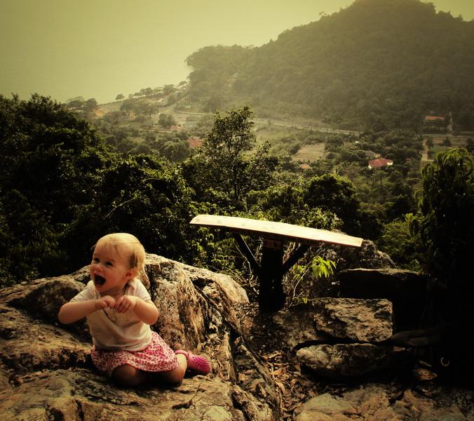 Aya climbing in Kep