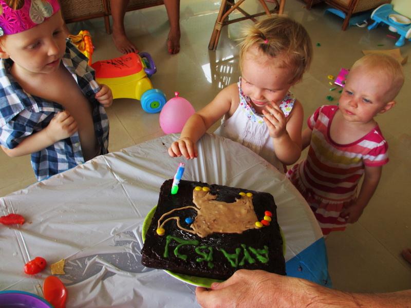 Aya's two! Homemade elephant birthday cake