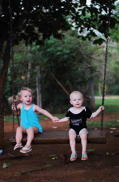 Aya + Sam swinging [Nature Lodge]