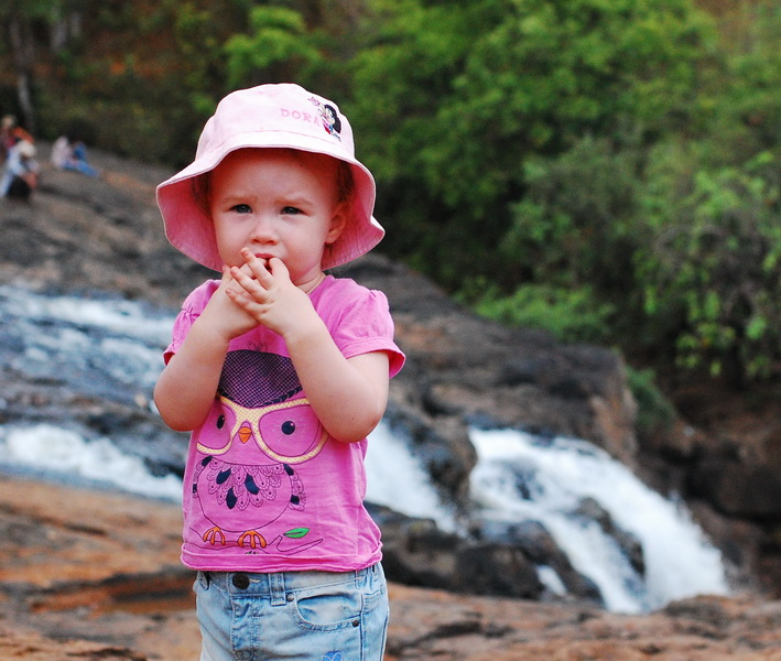 Aya nervous above Busra waterfall