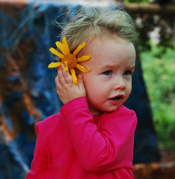 Aya finds a pretty flower