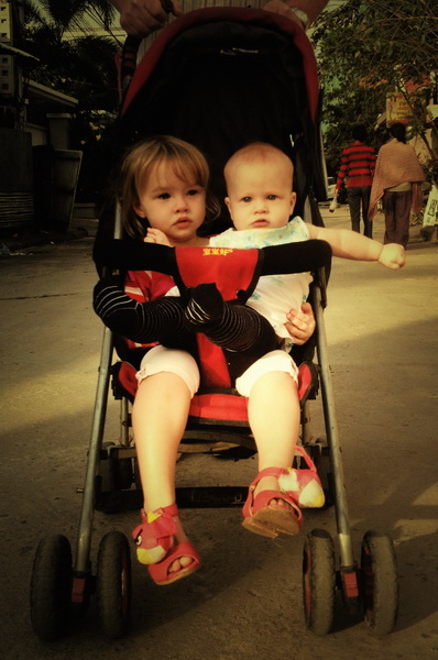 Sisters in the stroller