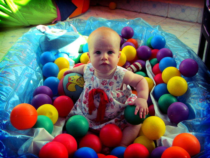Arwen cute in the ball pit