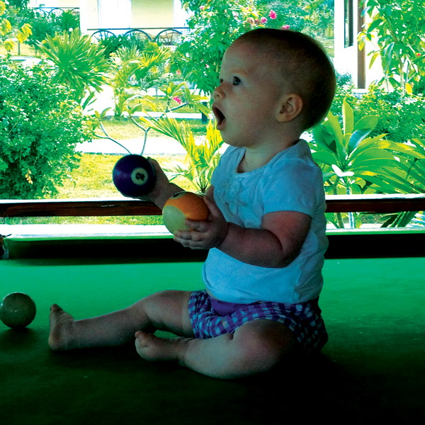 Arwen playing billiards
